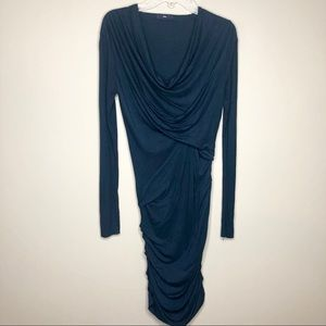 Navy Blue Long Sleeve Surplice Wrap Dress